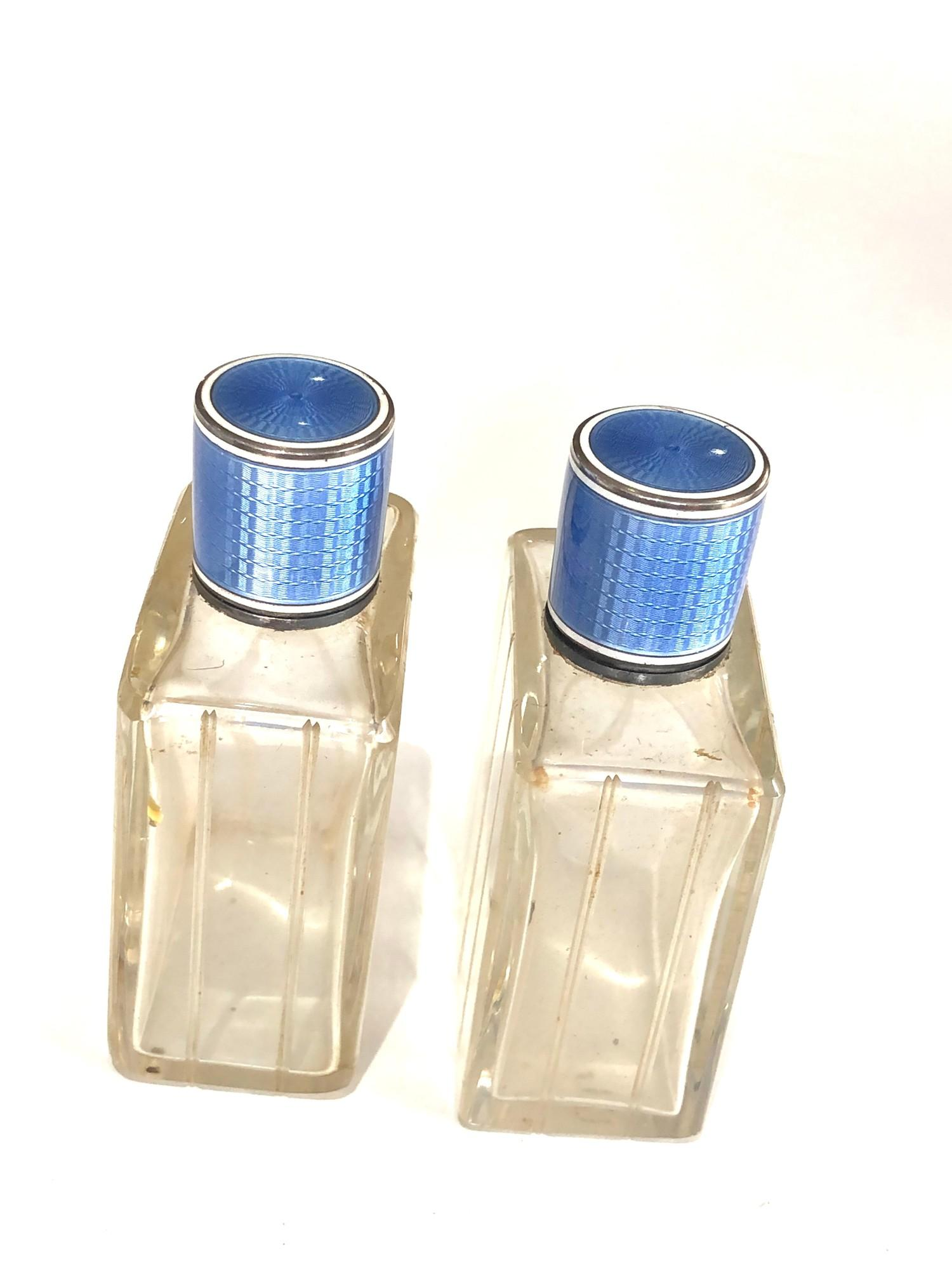 Pair of antique French silver and enamel perfume bottles complete with stoppers in good uncleaned - Image 2 of 8