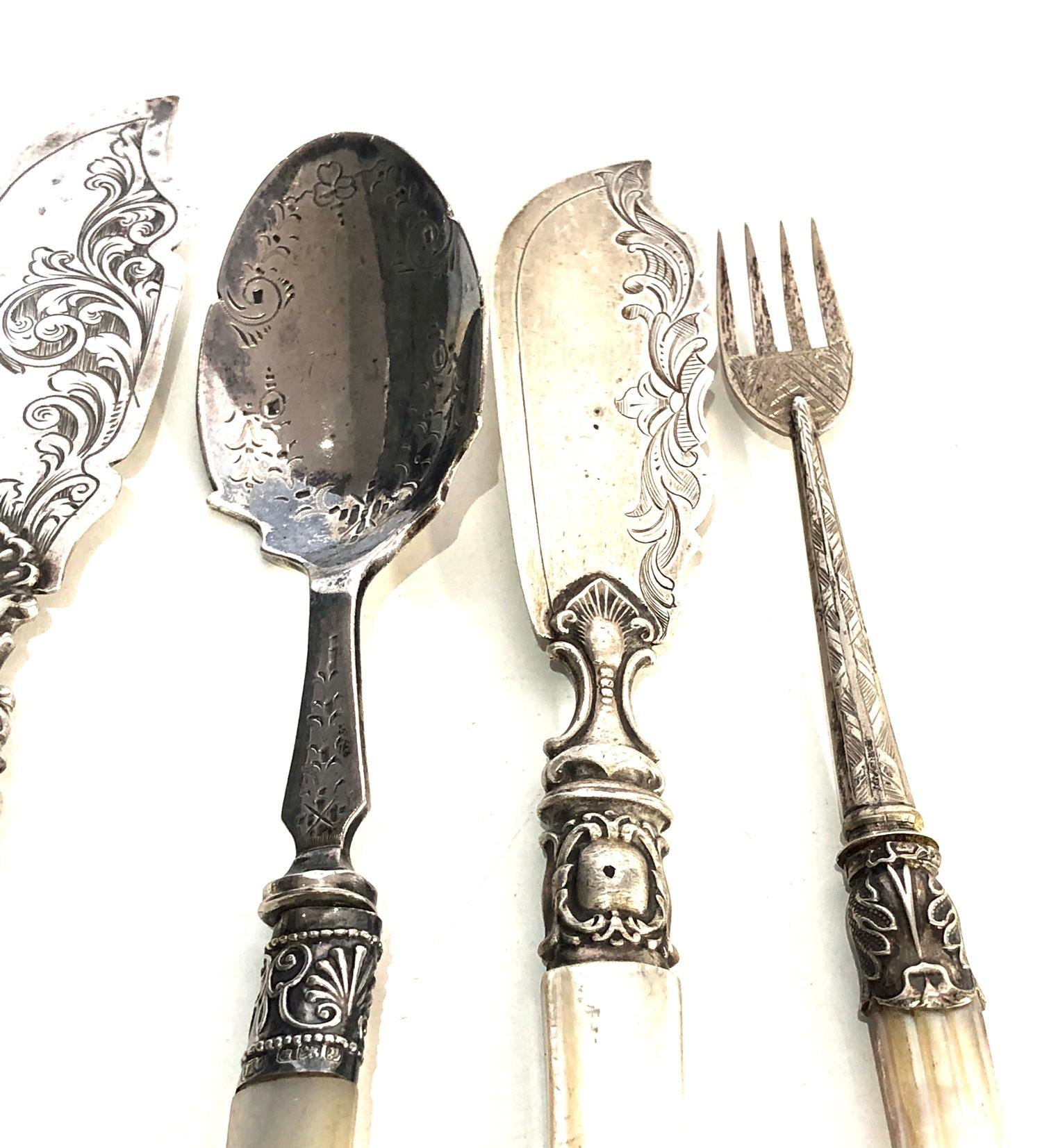 Selection of antique silver and mop handled pickle forks butter knifes etc - Image 3 of 6