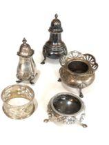 Selection of silver cruet items salts mustard etc silver weight 120g