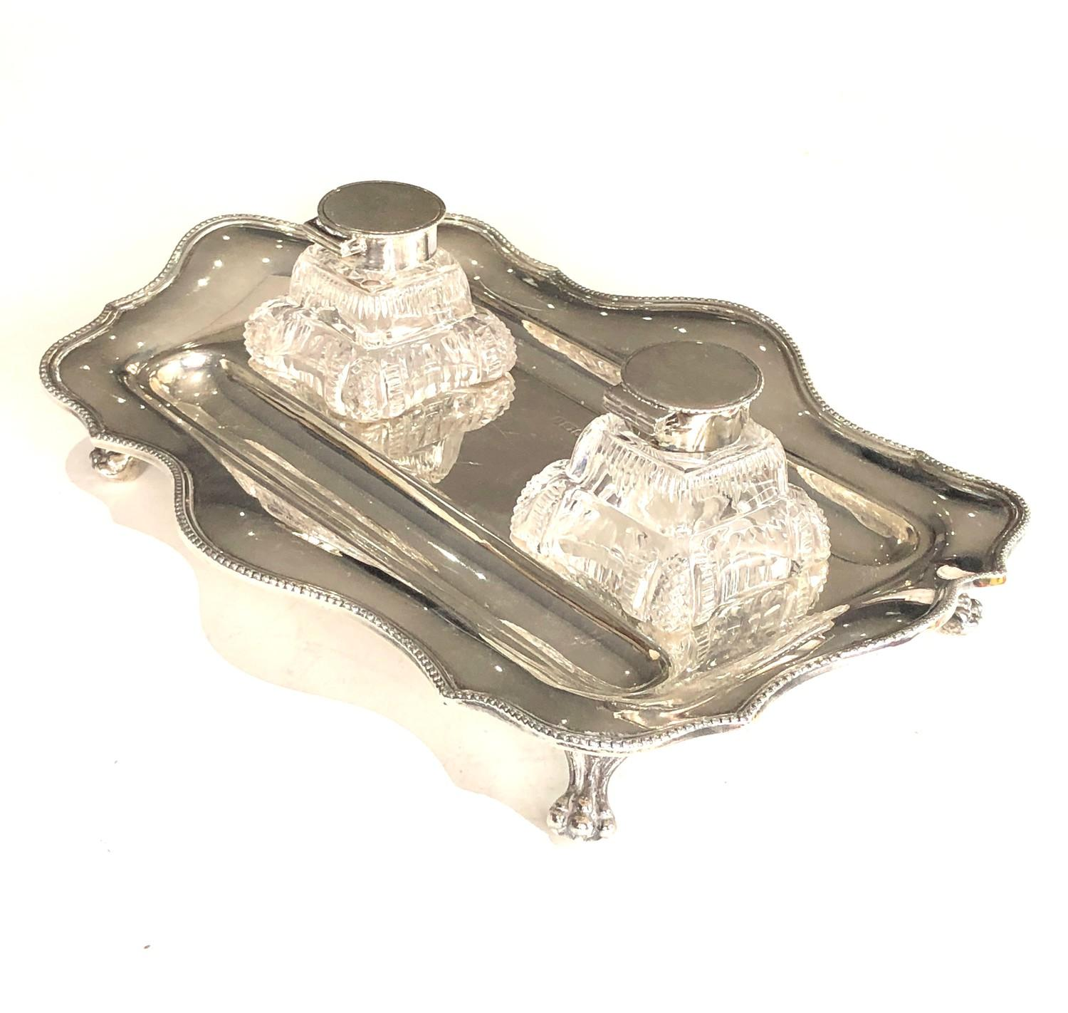 A George V silver shaped rectangular inkstand and pair of glass inkwells with dished pen rests, - Image 4 of 5