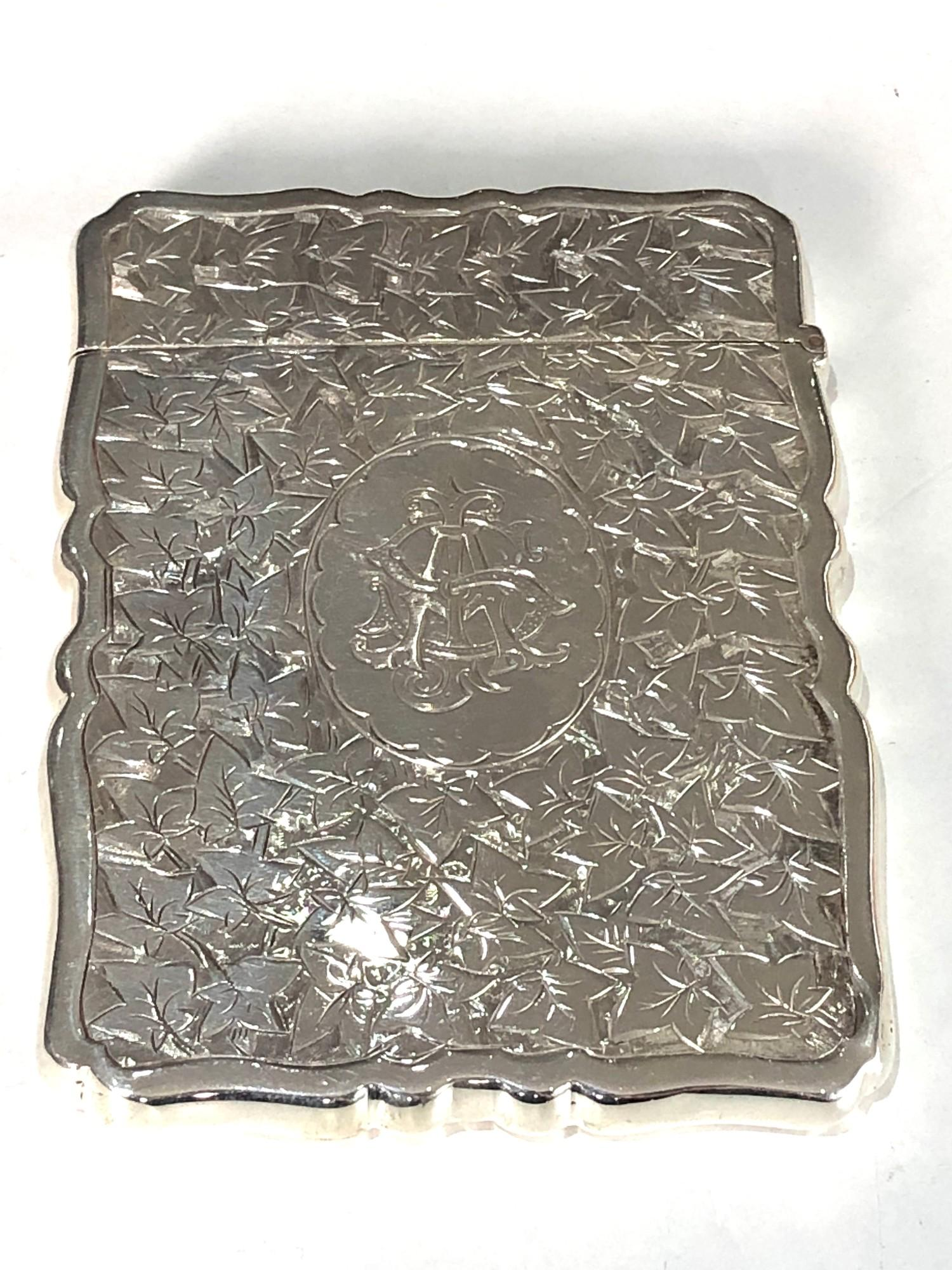Fine antique silver card case Birmingham silver hallmarks engraved initials on front measure - Image 5 of 5