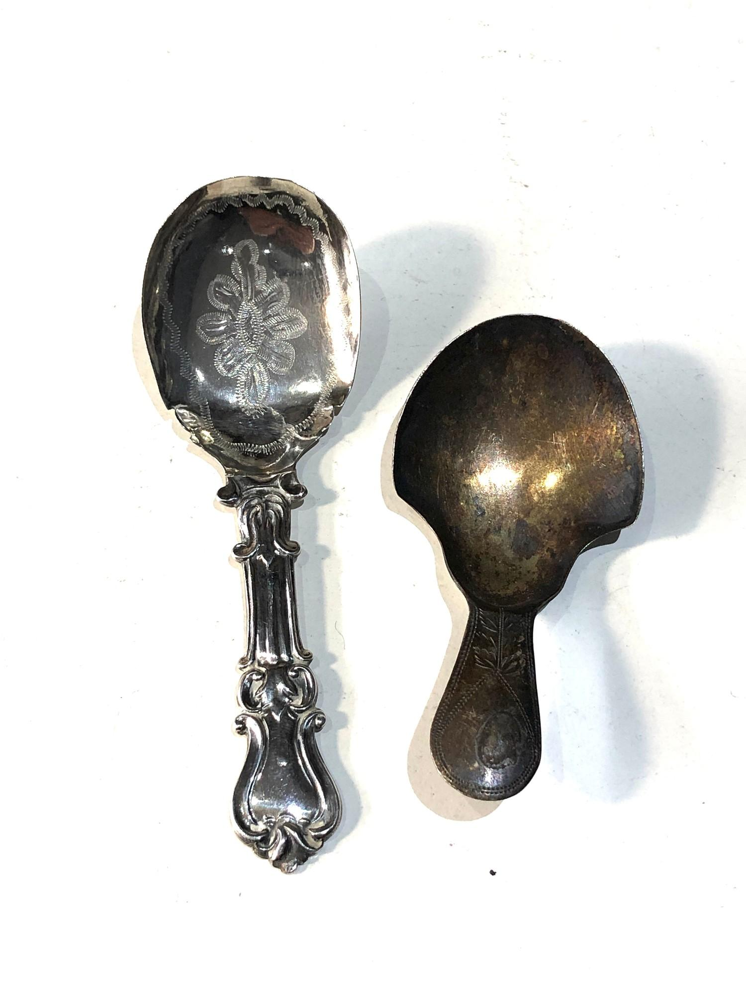 2 antique silver tea caddy spoons age related wear