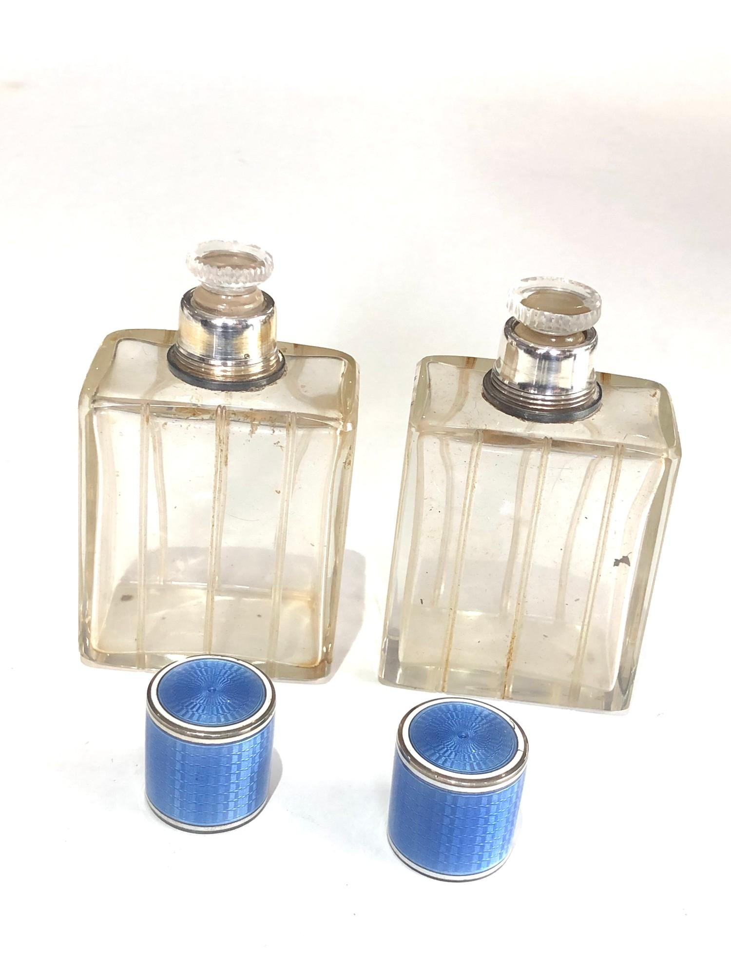 Pair of antique French silver and enamel perfume bottles complete with stoppers in good uncleaned - Image 3 of 8