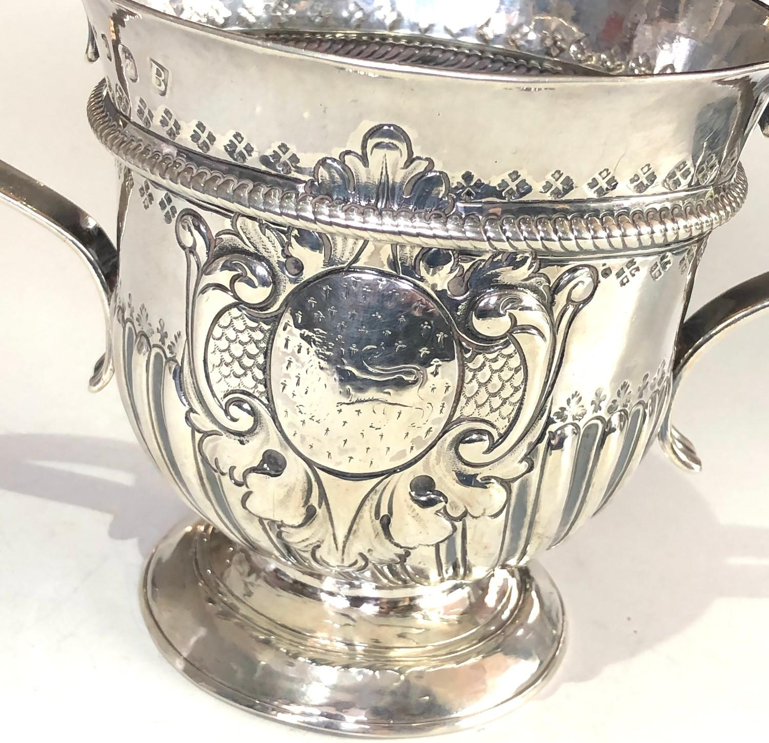 Rare George 1 silver Porringer full london silver hallmarks date letter B for 1717 measures approx - Image 6 of 9