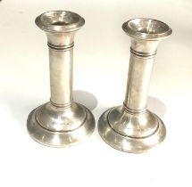 Pair of silver candlesticks measures approx 13cm tall weighted bases Birmingham silver hallmarks