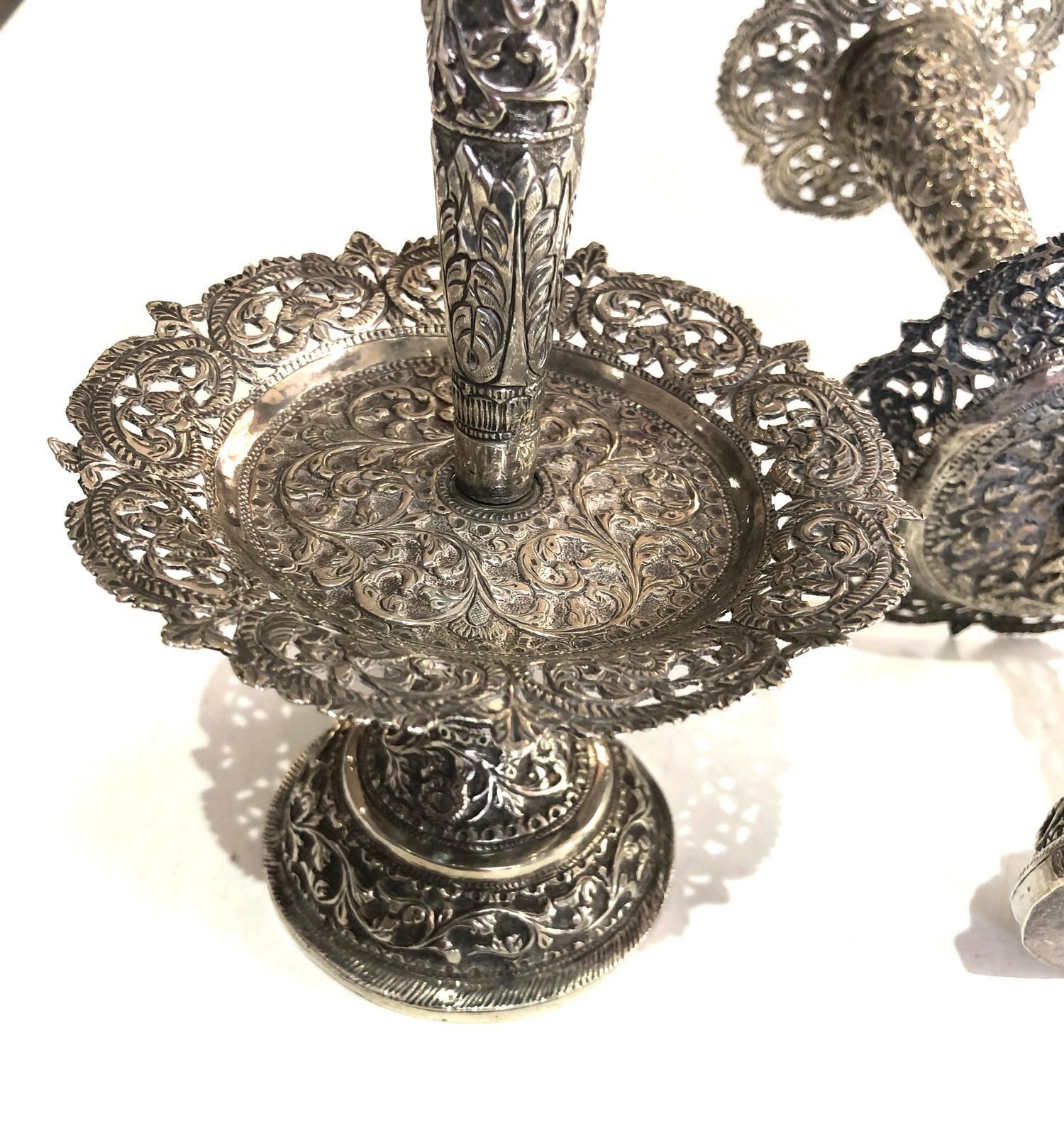 Fine Indian ornate Repousse floral vases each measures approx height 23cm filled bases total - Image 4 of 6