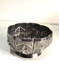 Asian silver bowl measures approx 11cm dia height 6cm xrt tested as silver weight 150g