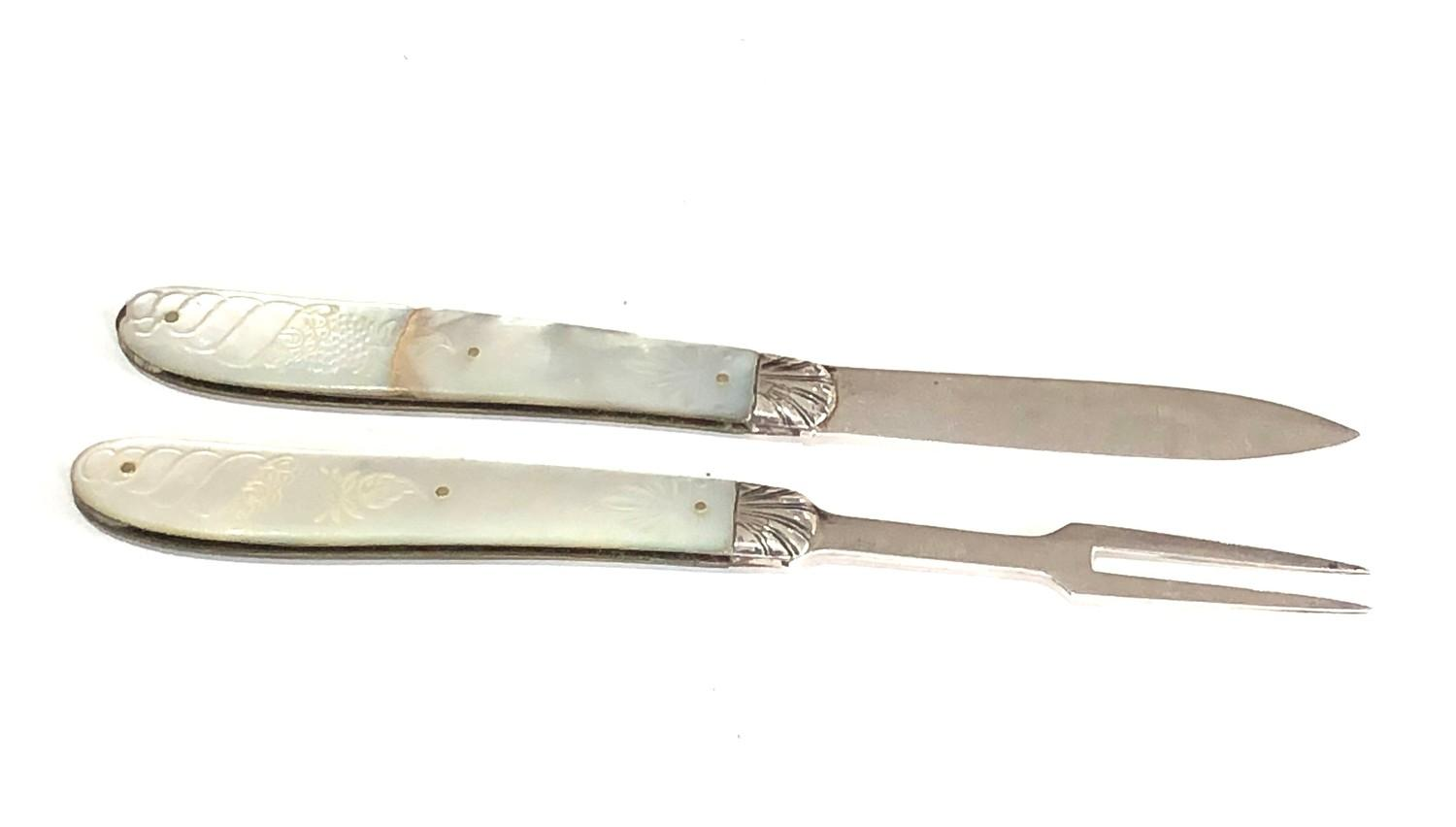 Antique silver & mop knife and fork both have victorian silver hallmarks matching mop handles with - Image 3 of 6