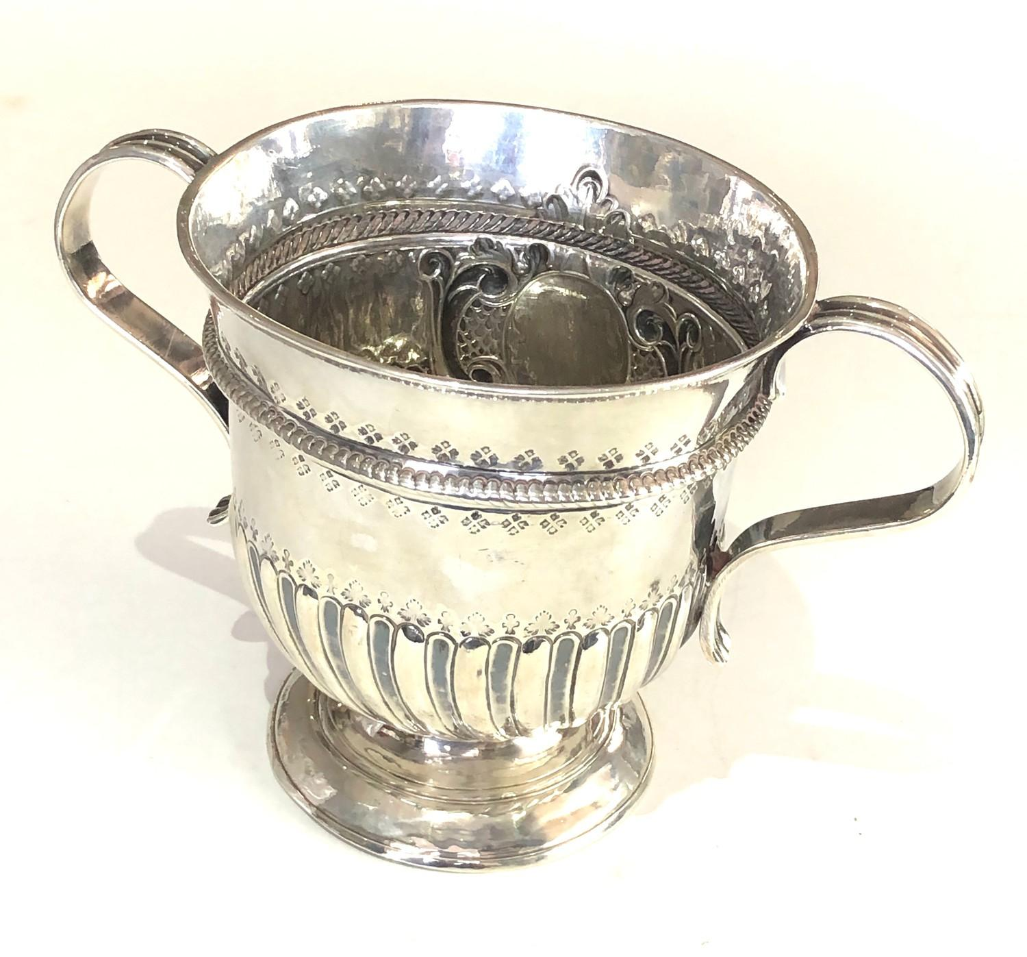 Rare George 1 silver Porringer full london silver hallmarks date letter B for 1717 measures approx - Image 4 of 9