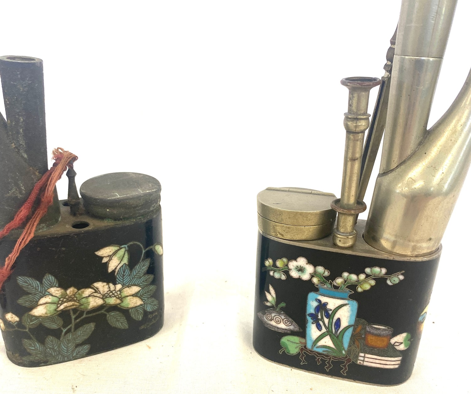 Two antique Chinese cloisonné opium pipes - Image 2 of 2