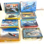 Selection of 8 boxed craft models to include, A-4 scooter, RF-84F Thunderflash, UH-1B Huey,Skyhawk