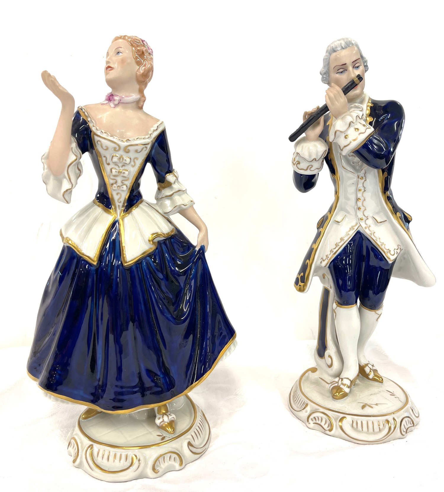 Pair antique Royal Dux figures, good overall condition, approximate height: 13.5 inches