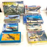 Selection of 8 boxed craft models to include, Osprey CV22A, Revell Boeing X-32A JSF, Alpha JET, H.