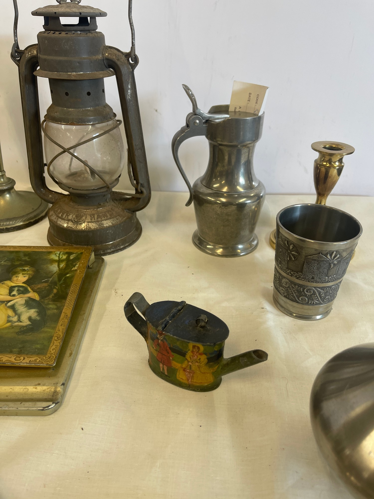 Selection of Assorted metal items, includes tilly lamp, brass candle stick, photo frames etc - Image 7 of 7