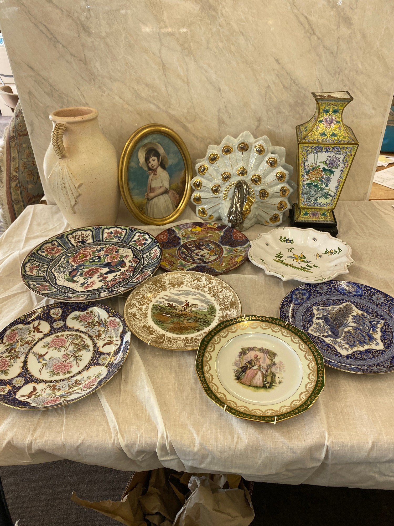 Selection of miscellaneous includes tin vase on stand, framed picture, plates etc