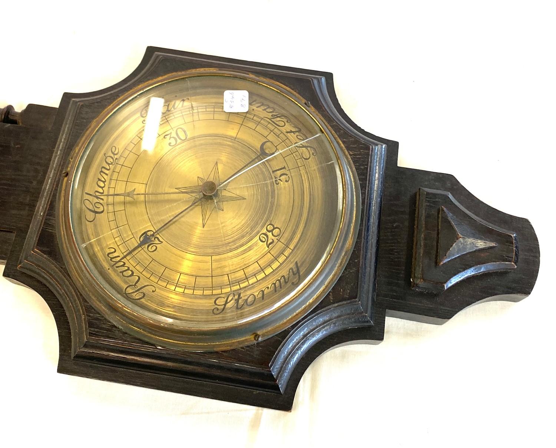 Oak framed barley twist barometer - broken glass - Image 3 of 3