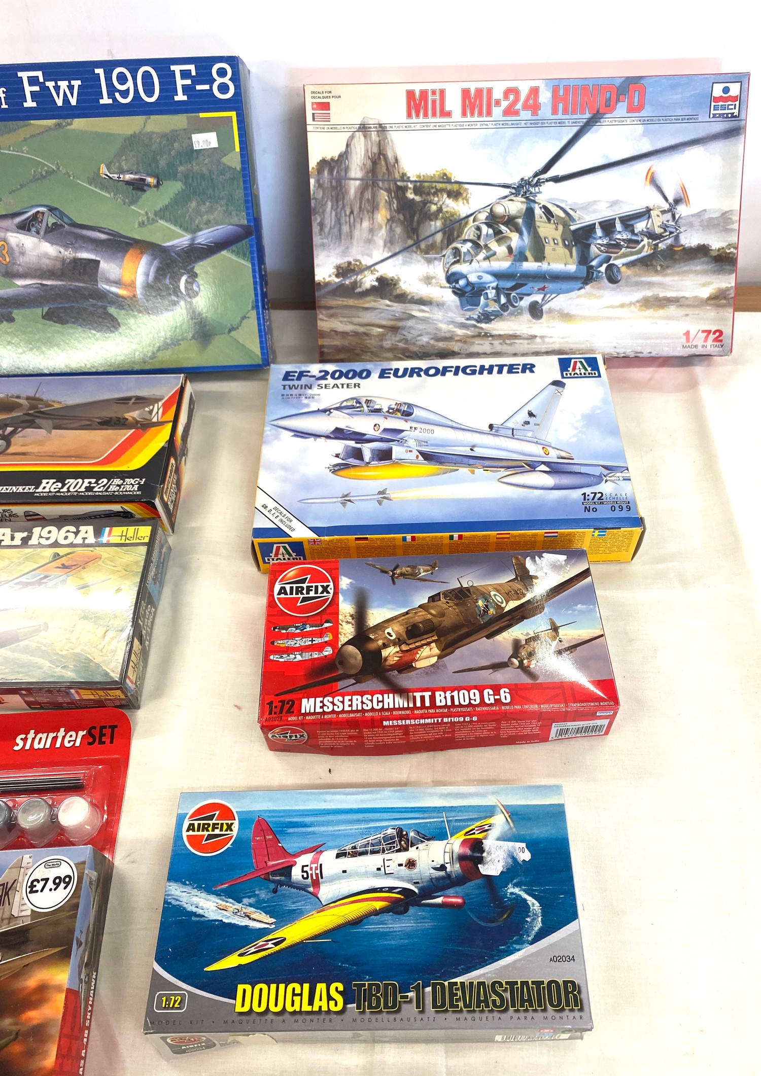 Selection of 8 boxed craft models to include, Mil MI-24 Hind-d 1/72, Douglas TBD-1, EF-2000 - Image 2 of 3