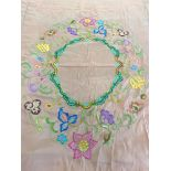 Vintage embroidered tablecloth, approxiamte measurement 104 inches by 82 inches