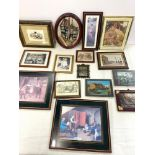 Large selection framed pictures / prints, various scenes and sizes all within black suitcase