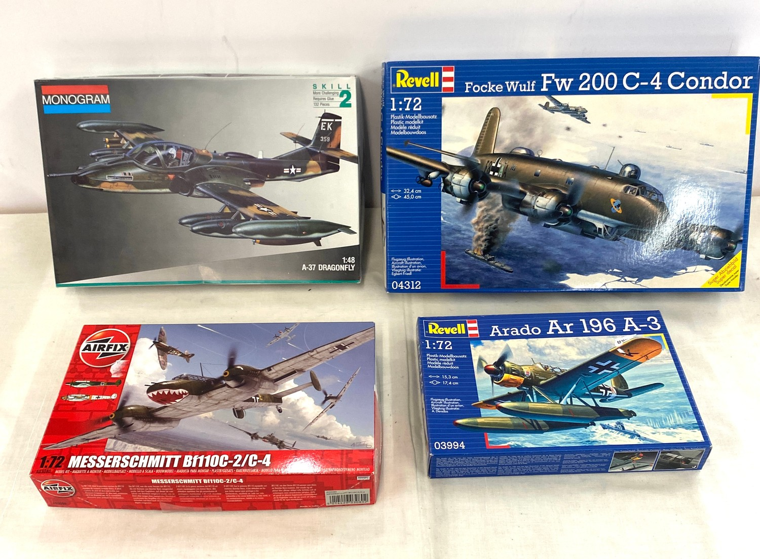 Selection of 4 boxed model air crafts includes, Monogram 5486, Airfix Messerschmitt Bf110C-2, Revell