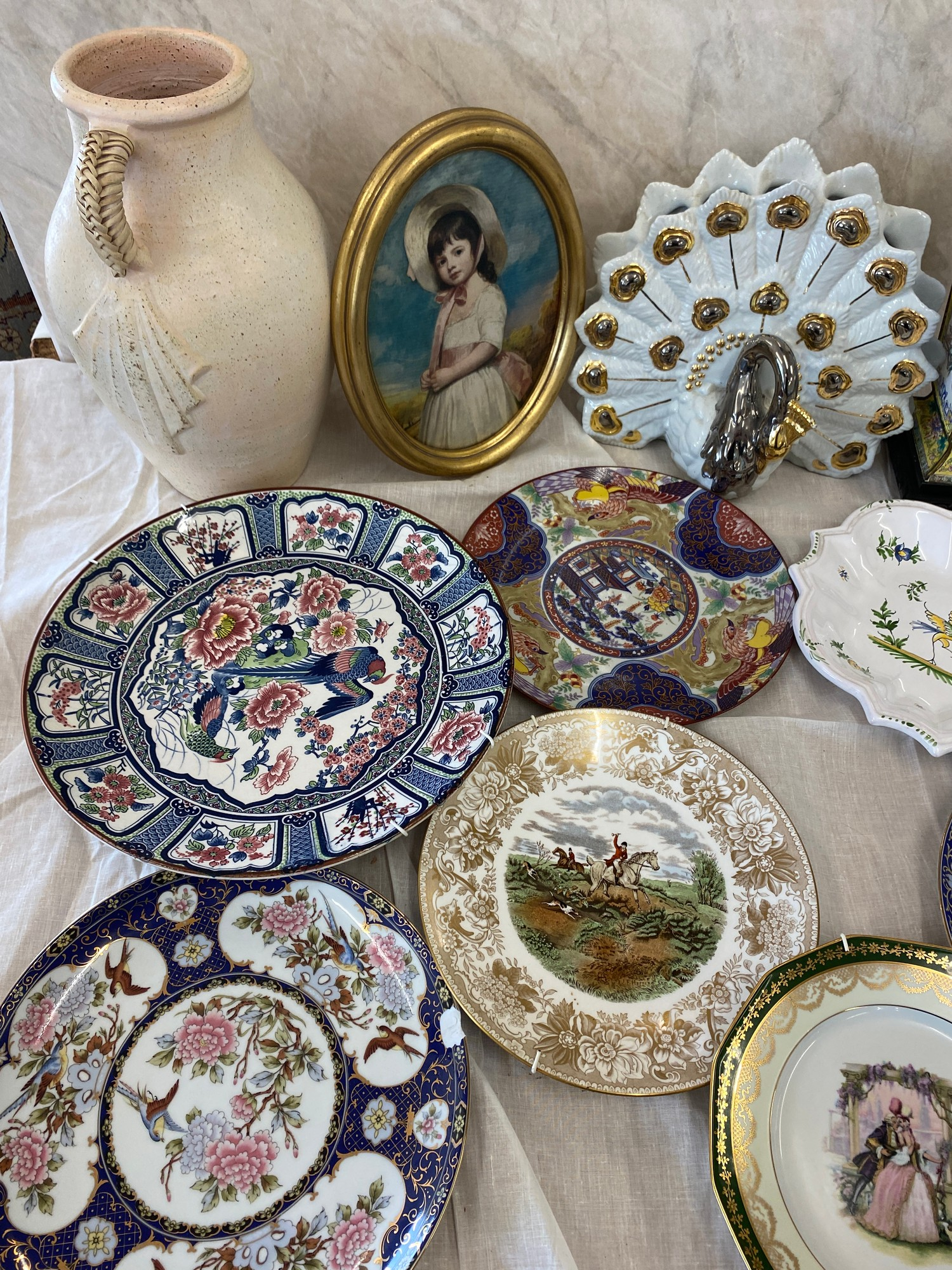 Selection of miscellaneous includes tin vase on stand, framed picture, plates etc - Image 2 of 3