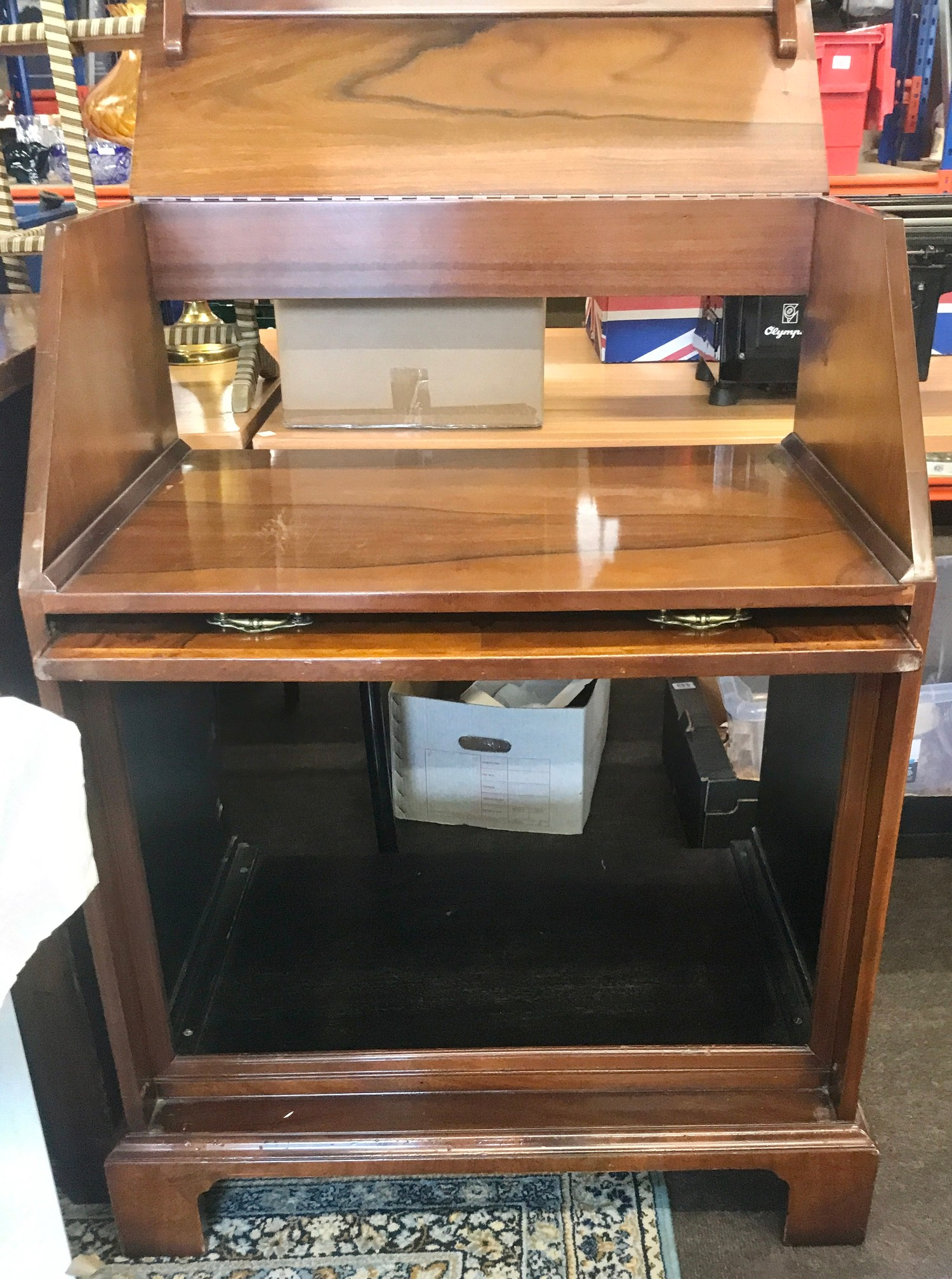"""Walnut bureau stereo cabinet measures approx 40.5"""" tall 29.5"""" wide 19.5"""" depth - Image 2 of 2"""