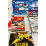 Selection of 8 boxed craft models to include, Revell Hunter FGA.9/ MK 58, Lockheed F-16B, Rafale-