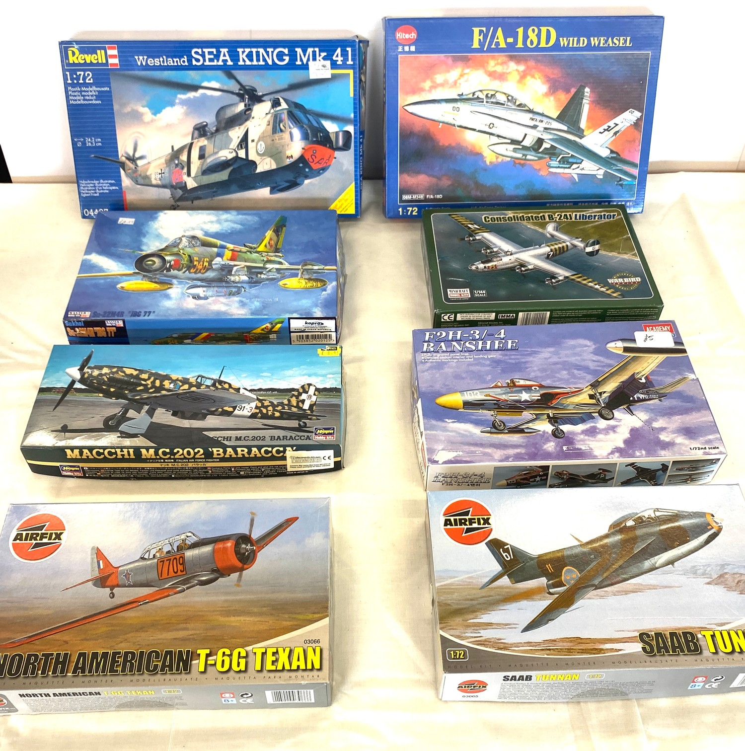 Selection of 8 boxed craft models to include, Revell Westland sea king, F/A 18D, Airfix Saab Tunnan,