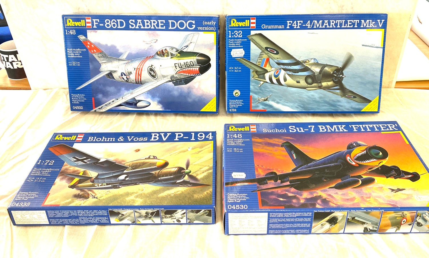 Selection of aircraft models in original boxes, Revell F-86D Sabre Dog, Blohm & Voss BV P-194,