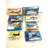 Selection of 8 boxed craft models to include, Airfix F2H Banshee, Martin B 57B/RB-57E, Revell f-84F,