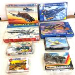 Selection of 8 boxed craft models to include, Revell Tornado, Mc Donnell Douglas, Fiat G.91R,