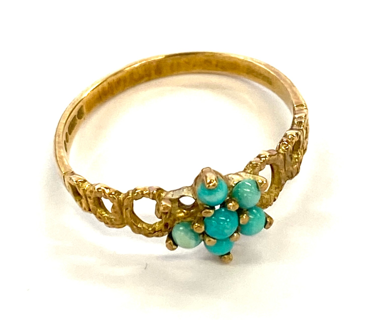 vintage 9ct gold turquoise set ring with textured design, missing stone
