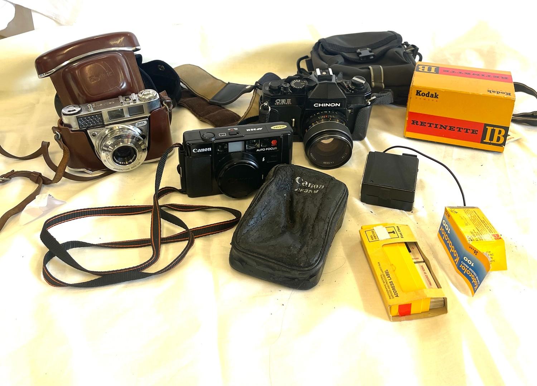 Selection of cameras to include Canon AF35m, Kodak Retinette 1b, Chinon CEII memotron camera,