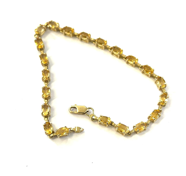 10ct Gold gemstone tennis bracelet