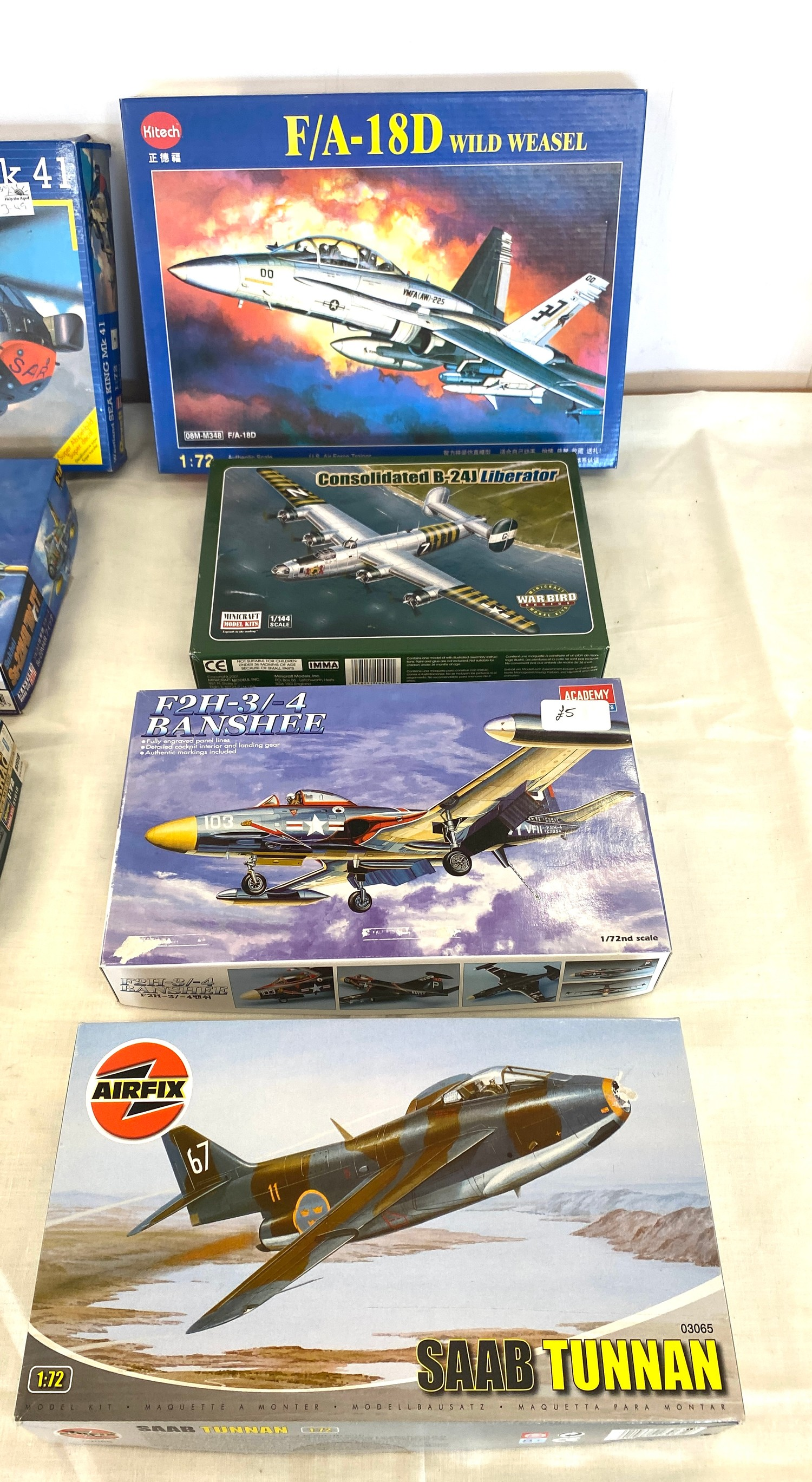 Selection of 8 boxed craft models to include, Revell Westland sea king, F/A 18D, Airfix Saab Tunnan, - Image 2 of 3