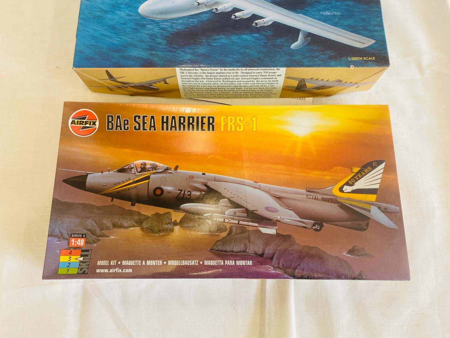 Selection of 4 boxed model air crafts includes, Henschel HS-129, Hawker Fury Biplane, Spruce Goose - Image 3 of 3