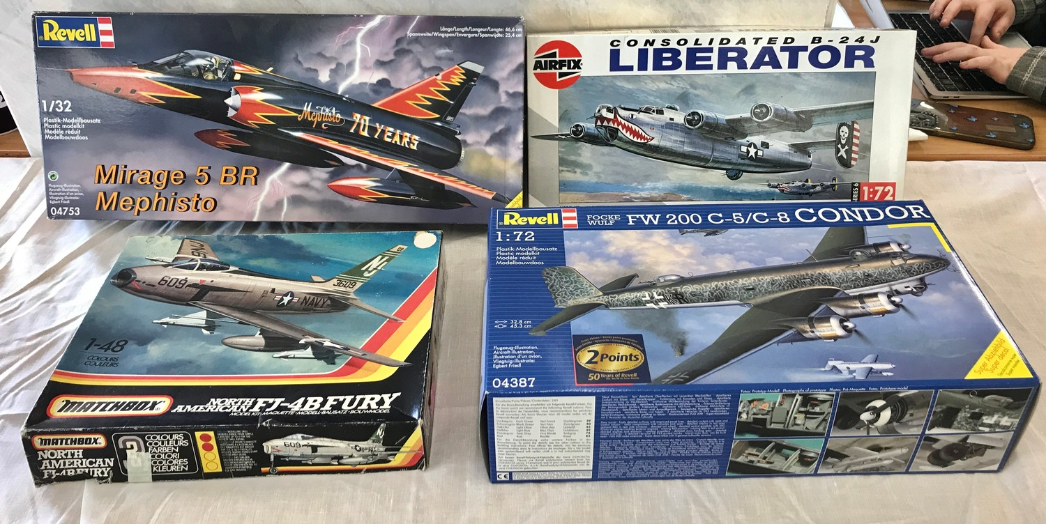 Selection of aircraft models in original boxes, revell Mirage 5 BR Mephisto, Airfix Consolidated B-
