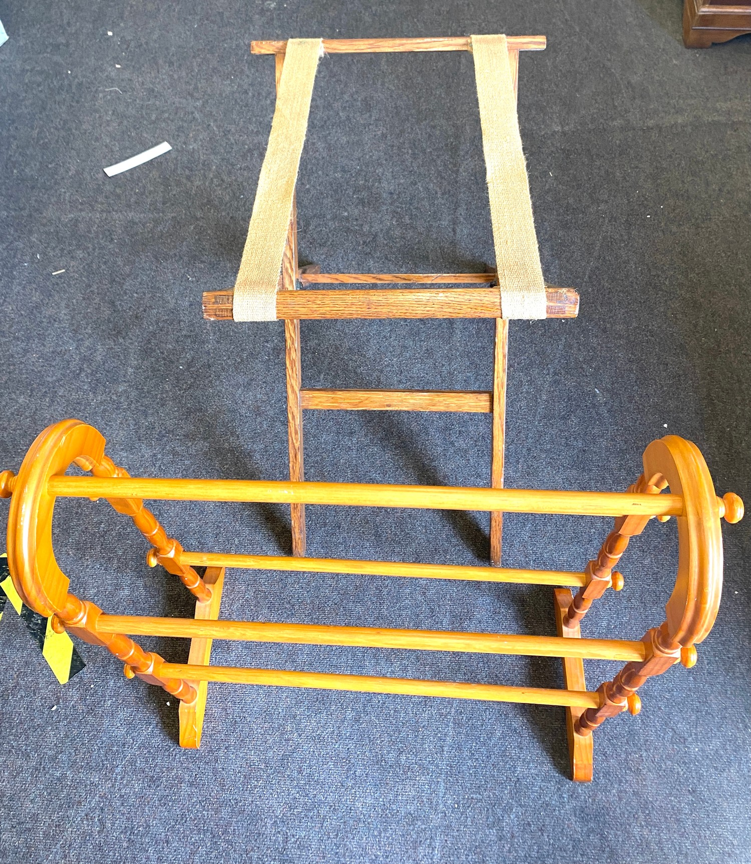 Vintage suitcase stand and a towel rail