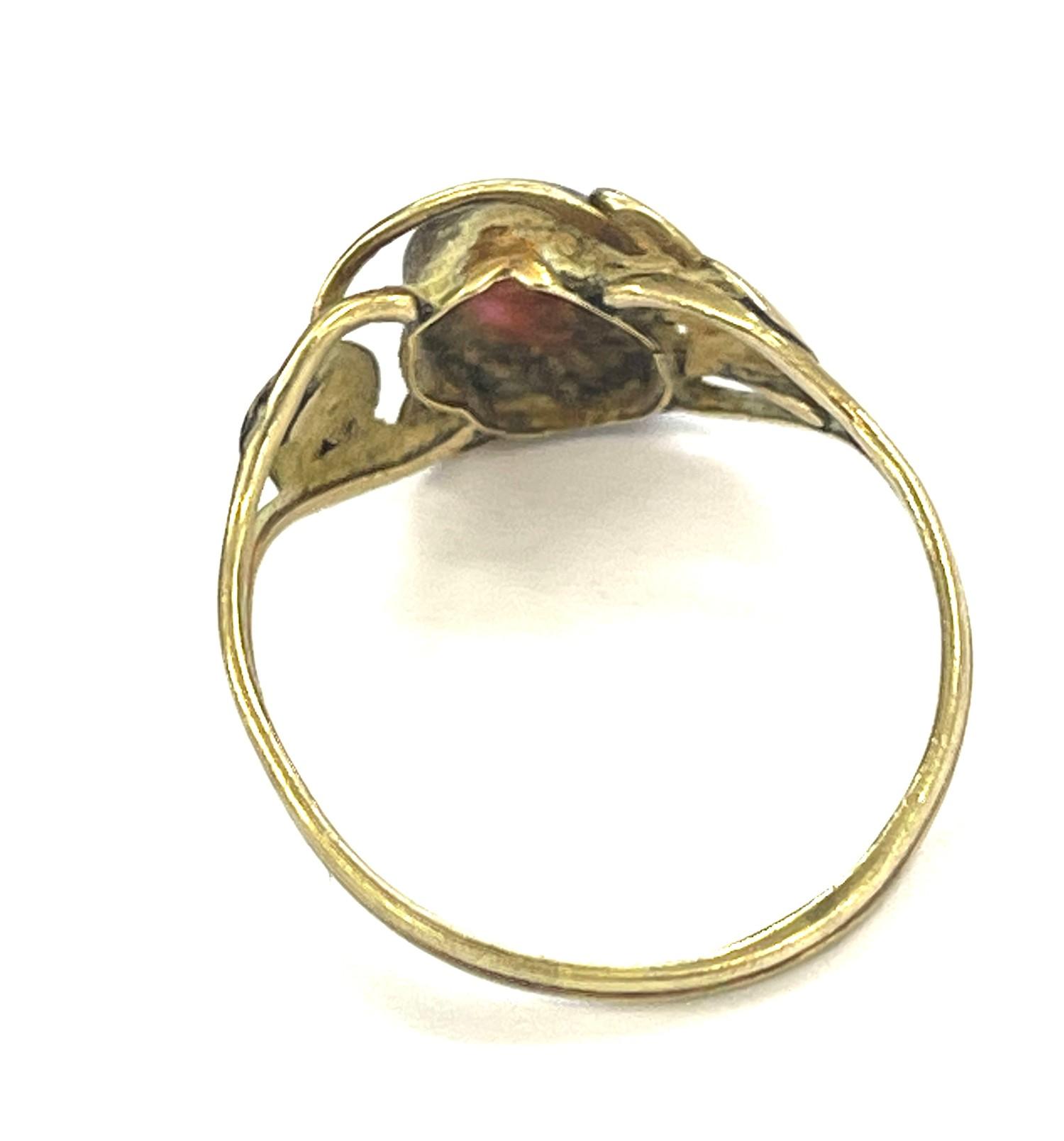 9ct Gold antique arts & crafts garnet ring - Image 2 of 3