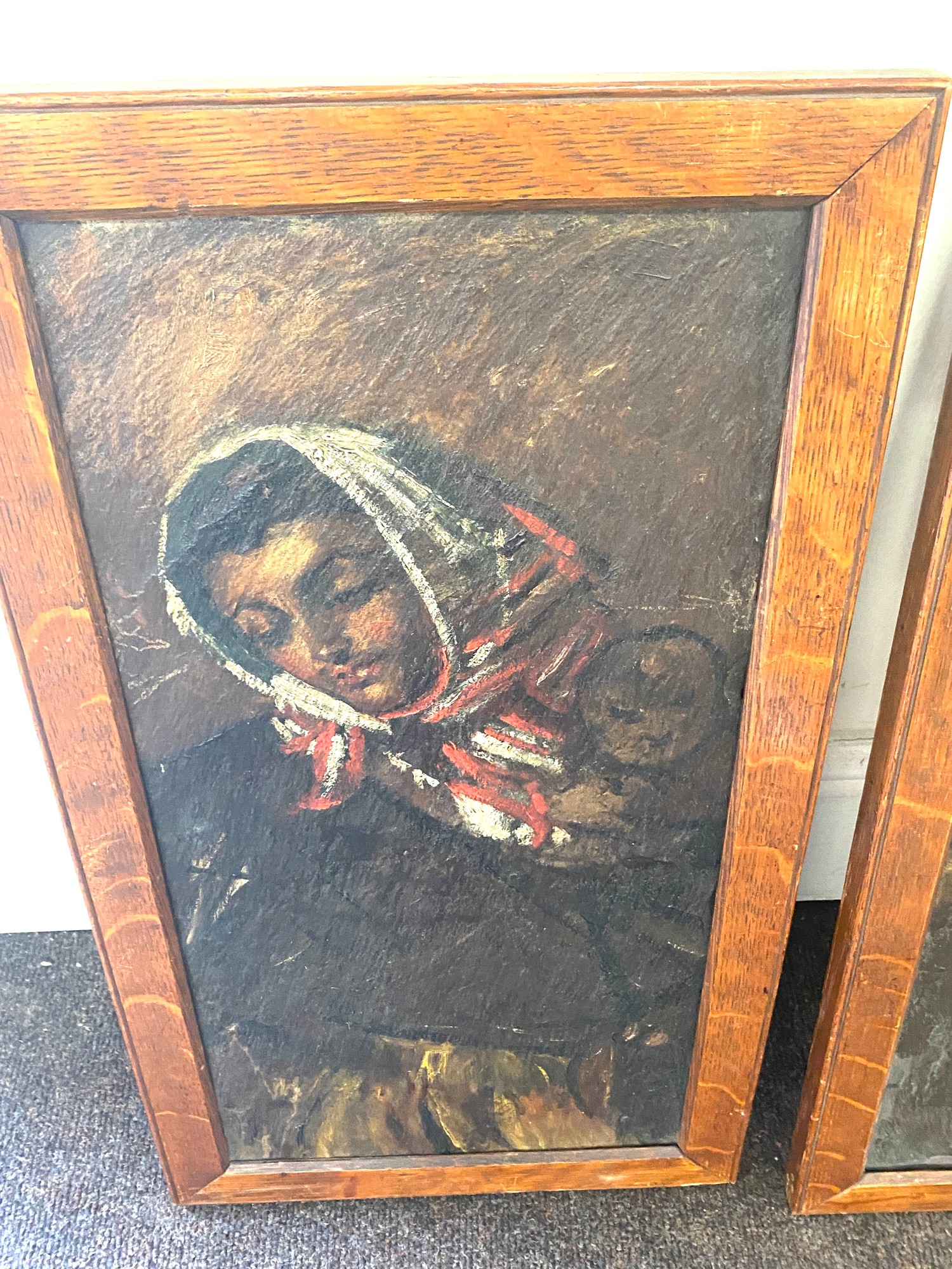 Pair of antique paintings on slate, signed on the frame. - Image 3 of 3