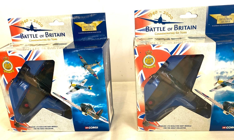 Selection of 5 Boxed Corgi battle of britain air craft model 49101 Hawker hurricane MKI 85 Sqd Raf - - Image 2 of 4
