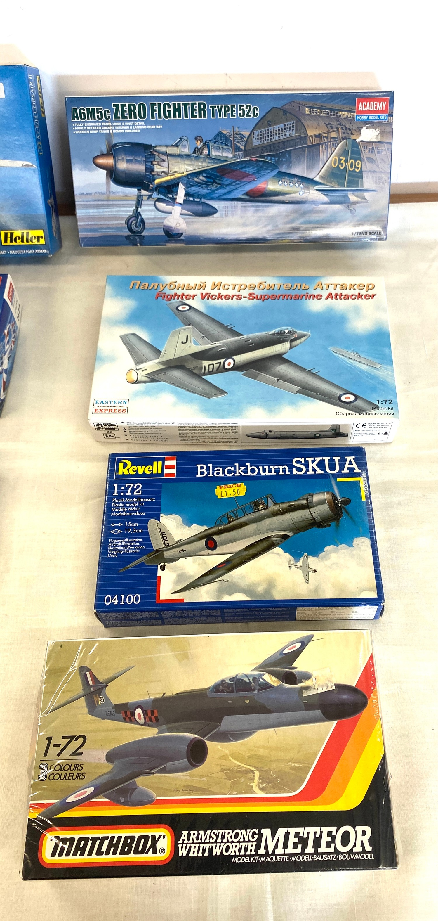 Selection of 8 boxed craft models to include, Corsaur II A7, Zero fighter type 52c, Fighter vickers, - Image 2 of 3