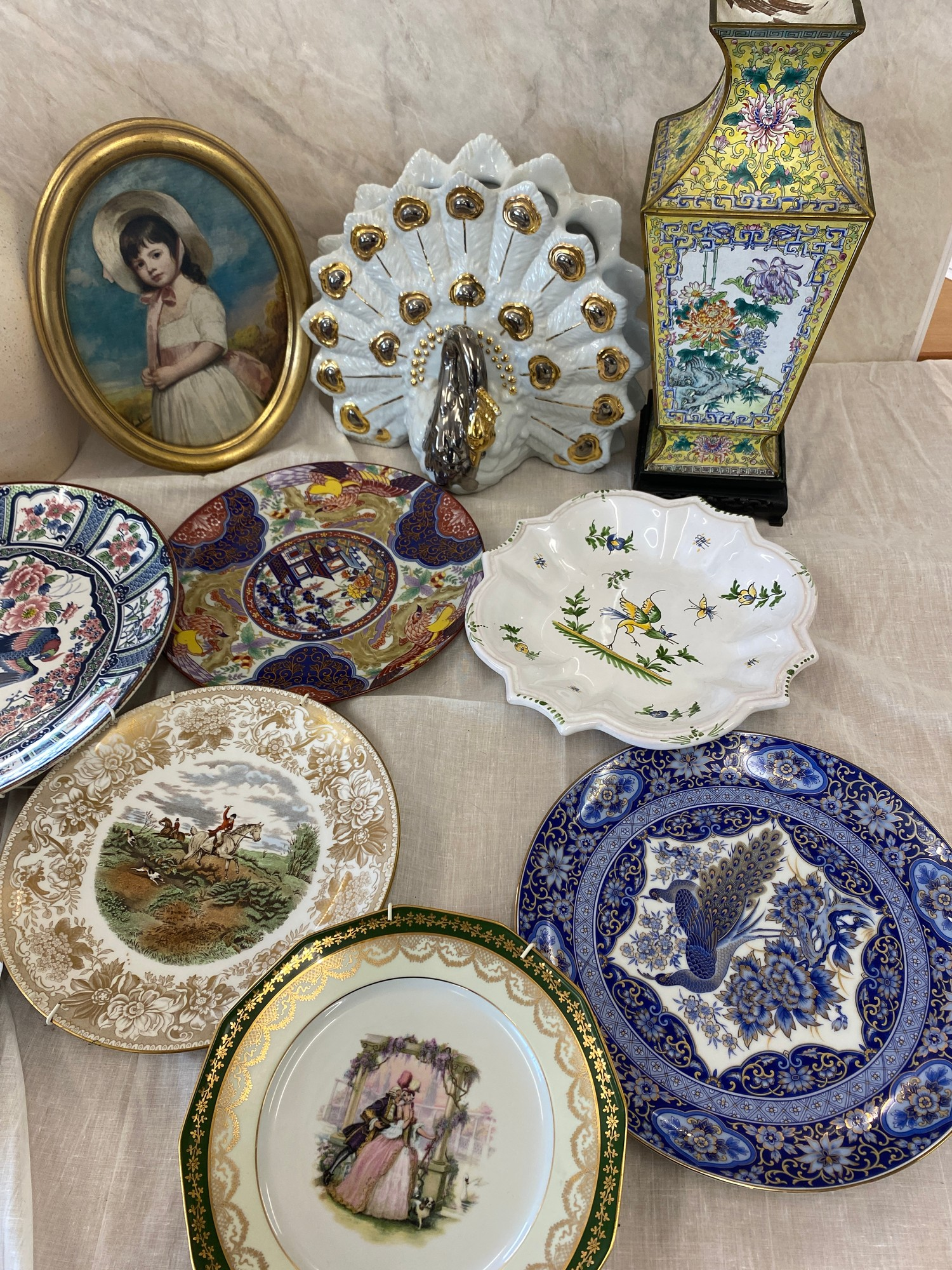 Selection of miscellaneous includes tin vase on stand, framed picture, plates etc - Image 3 of 3