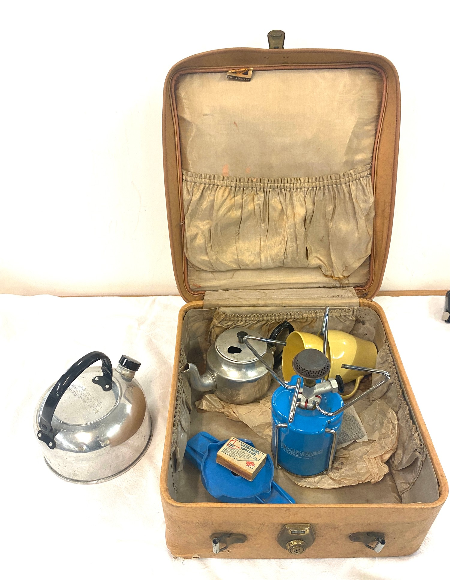 Selection of vintage camping equipment