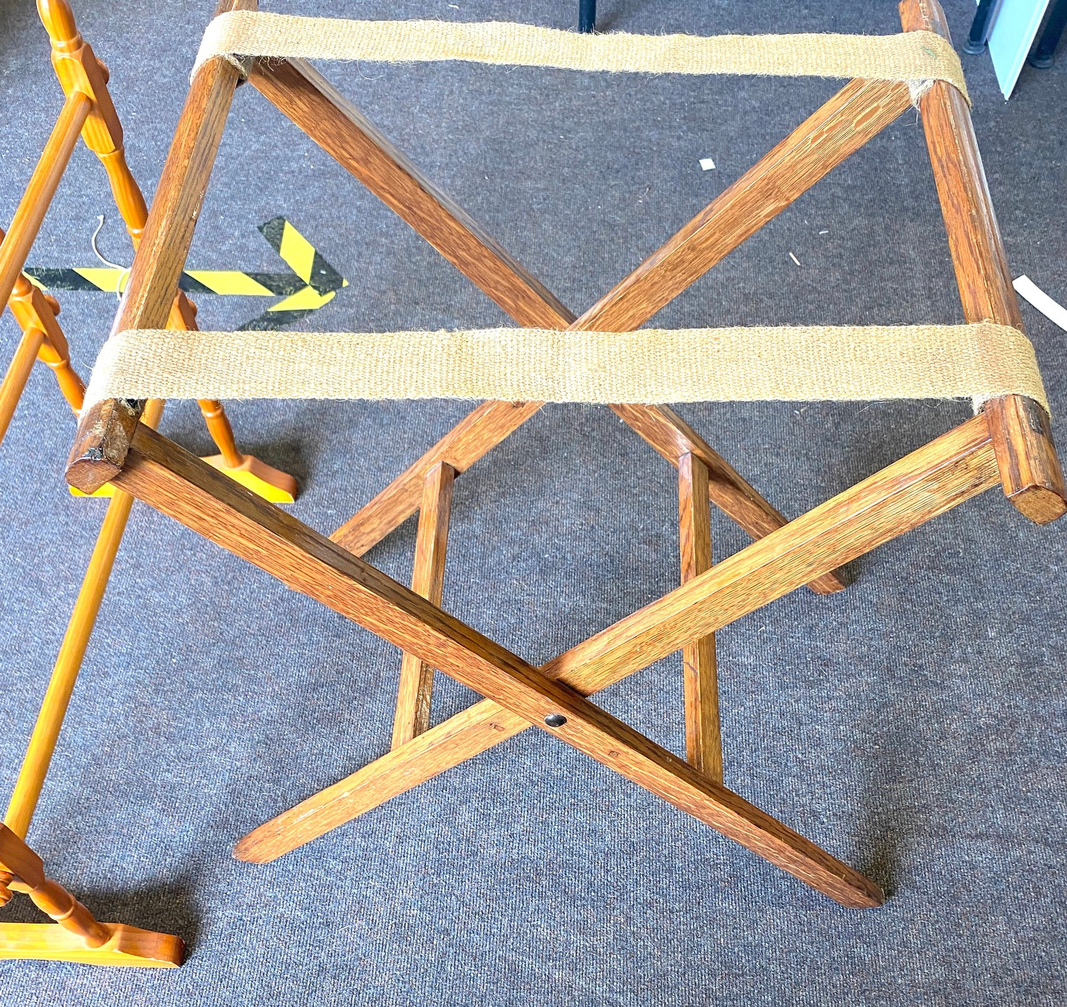 Vintage suitcase stand and a towel rail - Image 2 of 3