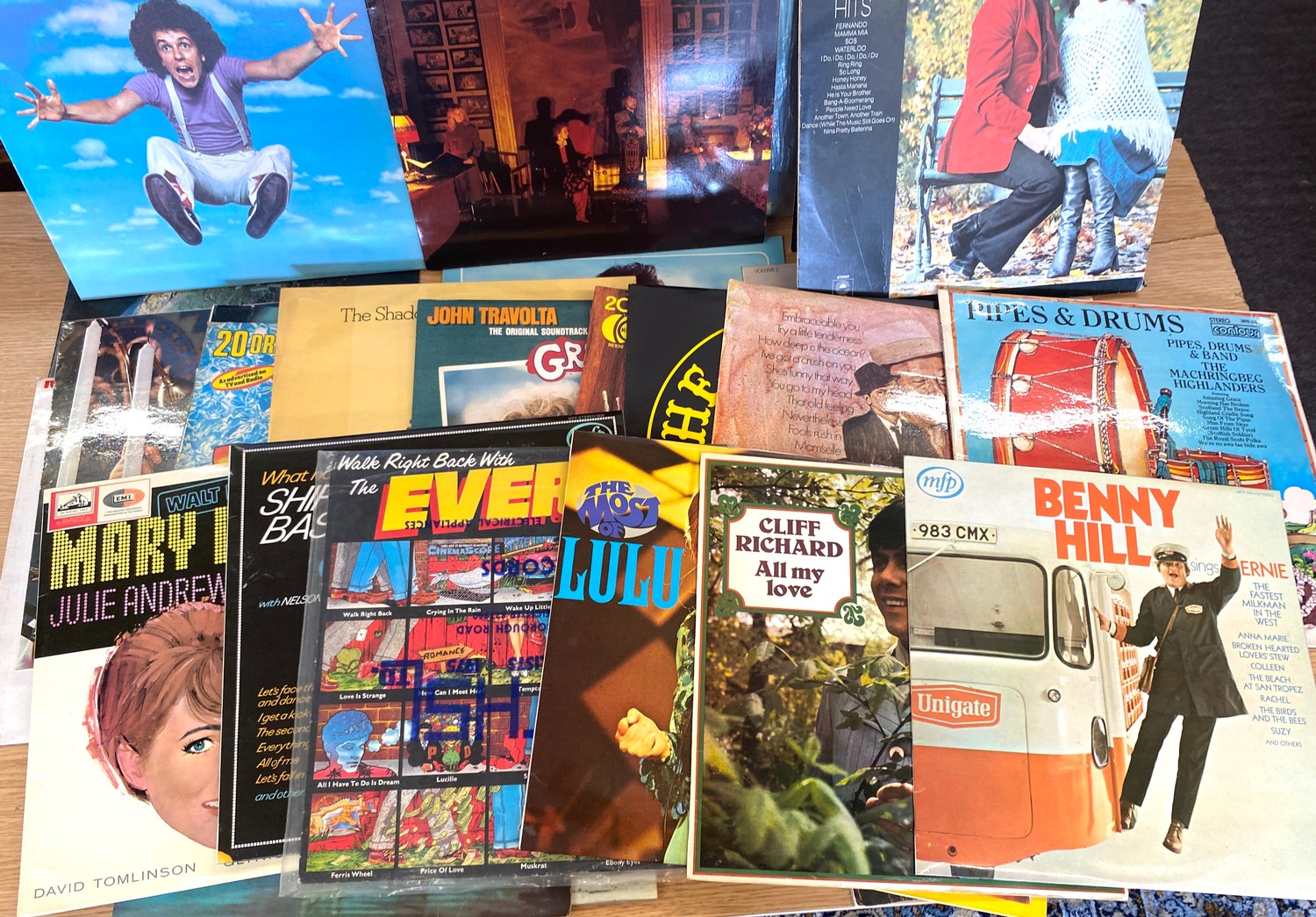 Selection of assorted records includes Elvis, Abba, Leo Sayer etc