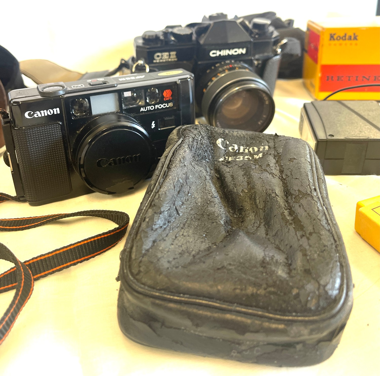 Selection of cameras to include Canon AF35m, Kodak Retinette 1b, Chinon CEII memotron camera, - Image 3 of 4