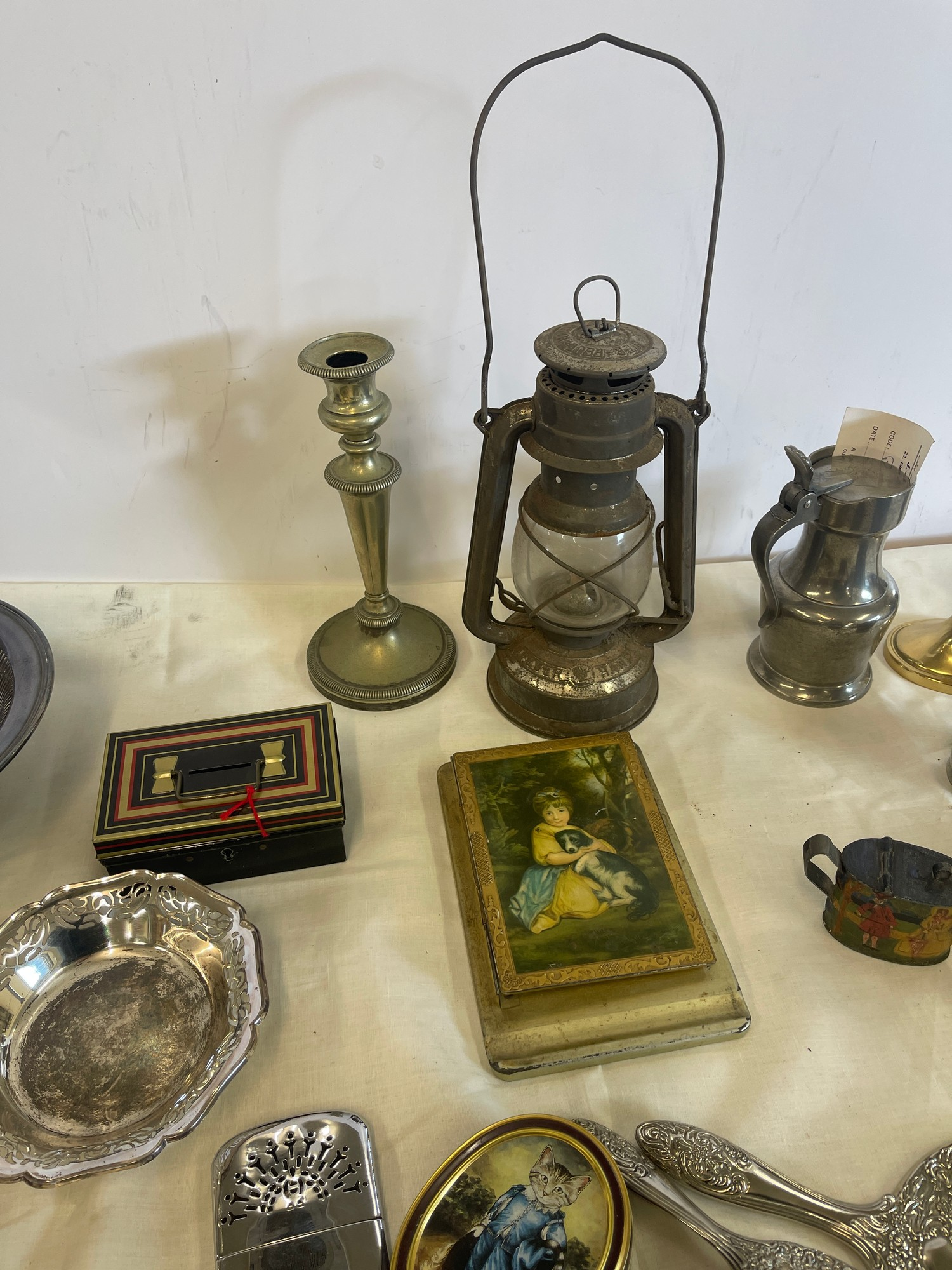 Selection of Assorted metal items, includes tilly lamp, brass candle stick, photo frames etc - Image 5 of 7