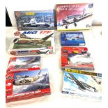 Selection of 8 boxed craft models to include, Airfix Fairey Rotodyne, Junkers JU-52, Mig 17F,