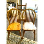 Pair of elm dining chairs and 1 other